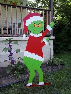 Grinch Christmas Standing Grinch Stealing Lights Outdoor Wood Yard Art Lawn…