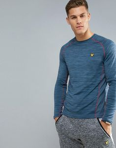9b483e8b9 Lyle & Scott Fitness Jenkins Long Sleeve T-Shirt in Petrol with Contra