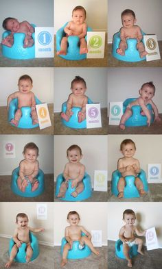 This is an adorable way to do a monthly photo, Alex however, at 3 months when I busted out the bumbo chair, chubby legs already get stuck in the leg cutouts!!
