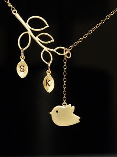 Bird necklace in gold stamped initials by JWjewelrybox on Etsy, $28.00