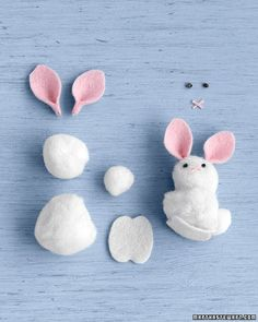 You will need 1 pom-pom each in 1-, 3/4-, and 3/8-inch sizes, clear fabric glue, white and pink felt, and black and pink embroidery floss. Use glue to attach 2 larger pom-poms. Download and print templates for feet and ears; cut out. Using templates as a guide, cut 2 ear shapes from pink felt, and 2 feet from white felt. At end of each ear, apply a dab of glue, and pinch end together; set aside to dry. For each eye, make embroidery-floss knots. To make the nose: Use your ...