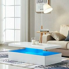 HIGH GLOSS BLACK Coffee Table with LED Lighting - Tiffany Range TIFF010 - £229.97 | PicClick UK Stylish Coffee Table, Black Coffee Tables, Modern Coffee Tables, Contemporary Living Room Furniture, Living Room Interior, Centre Table Design, White Sideboard, Led Furniture, Color Changing Led