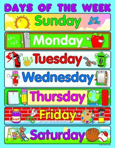 Learning the days of the week is easy when students have a classroom chart! Show students that every day is filled with learning opportunities. The Days of the Week chartlet measures 17 Classroom Charts, Classroom Calendar, Classroom Bulletin Boards, Classroom Posters, Classroom Displays, Preschool Worksheets, Preschool Learning, Early Learning, Preschool Activities