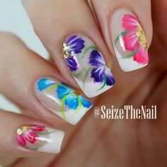 Unique and lovely summer nail art ideas! Pick your next nail art design! Nail Art Designs, Fingernail Designs, Flower Nail Designs, Pretty Nail Designs, Flower Nail Art, Great Nails, Fabulous Nails, Gorgeous Nails, Cute Nails