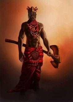 Shango, Orisha of thunder. Symbols: oshé (double-headed ax), crown, red clothes and eleke (necklace), bag with magic powders. African Culture, African History, African American Art, African Art, Shango Orisha, Shango God, Azores Portugal, Yoruba Orishas, African Mythology
