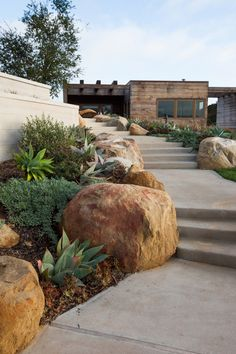 Toro Canyon home in #California with elegant and natural steps with #boulders and #foliage