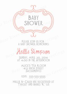 Baby Shower Invitation Simple Scroll Frame 5x7 by PhotoGreetings