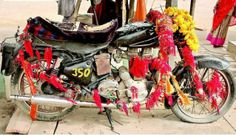 Om Banna is shrine near Jodhpur, India, devoted to a motorcycle god, also called Bullet Baba. It is located 50 km away from Jodphur on the highway to Pali, near Chotila village. The bike is a Royal Enfield Bullet 350.