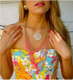 color and a monogrammed necklace