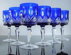 ANCIENNE 4+2 VERRES A VIN CRISTAL COULEUR BLEU TAILLE BOHEME NON SIGNE Signs, Bohemian, Vase, Glasses, Blue Crystals, Cups, Blue, You Are Wonderful, Crystals
