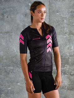 Zele Women's Aero Sleeved Triathlon Top - Pink and Black