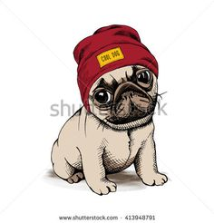 Find Puppy Dog Pug Hipster Hat Vector stock images in HD and millions of other royalty-free stock photos, illustrations and vectors in the Shutterstock collection. Wallpaper Pug, Pug Kawaii, Hipster Hat, Cute Cartoon Pictures, Pug Art, Cute Cartoon Wallpapers, Pug Puppies, Pug Love, Dog Cat