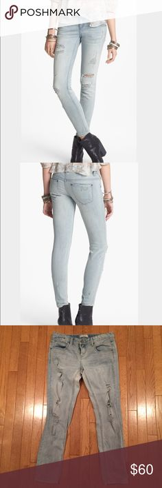 Free People Light Wash Distressed Skinny Jeans! Free People light washed distressed skinny jeans! Great condition! They have distressing up and down the front of the legs, a few places on the back of the legs, and on the pockets! Tags says size 29! Waist is 31 inches, inseam is 28.5 inches! 71% cotton, 28% polyester, 1% spandex! Free People Jeans Skinny