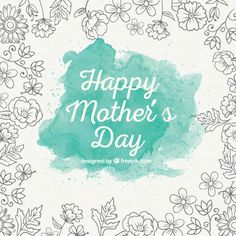 Turquoise watercolor mother's day background Free Vector