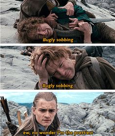 Lord of the Rings // LOTR // ugly sobbing // Legolas Legolas And Thranduil, Aragorn, Gandalf, Legolas Funny, Hobbit Funny, Fellowship Of The Ring, Lord Of The Rings, Narnia, O Hobbit