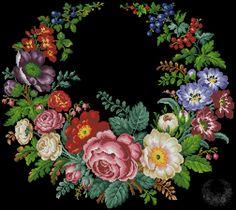 Gallery.ru / Букет с маком, розами и анемоном - Старинная вышивка. Мои перенаборы - s1a2v3o4l5