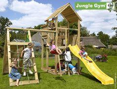 Jungle Gym Palace Legetårn med klatremodul og 1 gynge | Køb online på Føtex.dk