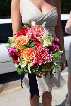 Bridal bouquet idea. Love the dahlias, mint!