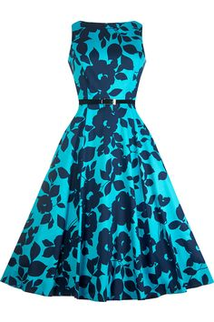 Teal Shades Hepburn Dress : Lady Vintage