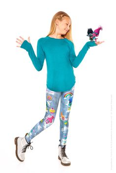 We're heading on a wild adventure in these Trolls Denim Leggings! We partnered with DreamWorks and their highly anticipated Trolls movie for one of our craziest collaborations yet. This photo-real den