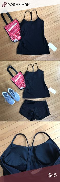 Lululemon NWT Black Tank Lululemon NWT Black Tank. Power Pose Tank size 8 new with tags. Black with removable cups. Comes with Lululemon bag. lululemon athletica Tops Tank Tops
