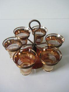 retro 60s set of 6 revolving shot glass set drinks cocktails glasses gold party