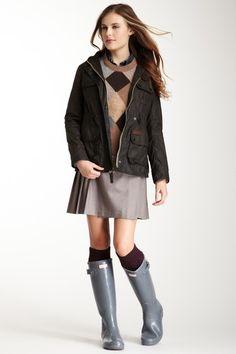 argyle sweater+skirt+knee high socks+rain boots=chic nerd