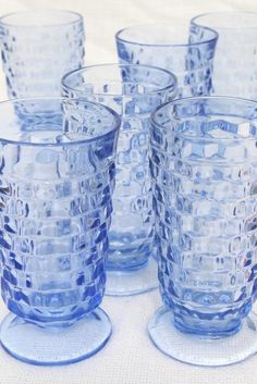 vintage Whitehall cube pattern footed tumblers, pale sapphire blue glass drinking glasses