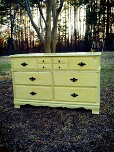 Shabby, distressed, yellow vintage dresser. Sold!