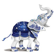 Sparkling Blue Willow Hand-Painted Elephant Figurine Adorned With Swarovski Crystals Elephant Love, Elephant Art, Elephant Quotes, Elephant Home Decor, Blue Willow China, Elephant Illustration, Elephant Figurines, Glass Figurines, China Patterns