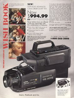 "gameraboy:   	""Our most advanced camcorder outfit yet! Now $994.99!""1989-xx-xx Sears Christmas Catalog P672 by Wishbook"