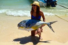 Our new spearfishing guide in Playa del Carmen. Big fish or Small woman?