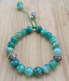 Green agate adjustable bracelet with sterling by SabouriDesigns