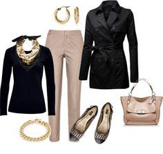 khaki's, animal print scarf, black blouse/shirt, black jacket, animal print shoes, taupe bag