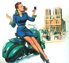Vespa Pin-Up Girl March 1951 - Mad Men Art: The 1891-1970 Vintage Advertisement Art Collection