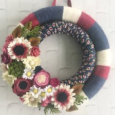 Raspberry and navy felt flower double wreath by wiltedrosewreaths