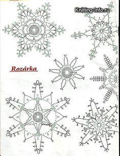 háčkované vianočné ozdoby *** SadaXmas / katval – Her Crochet - knittings christmas Crochet Snowflake Pattern, Crochet Stars, Christmas Crochet Patterns, Crochet Snowflakes, Thread Crochet, Crochet Stitches, Christmas Snowflakes, Christmas Knitting, Christmas Holiday