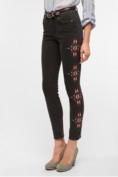 Urban Outfitters BDG Cigarette High-Rise Jean - Embroidered - Available in two lengths! $78