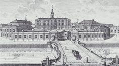 Christiansborg Slot med Marmorbroen over Frederiksholms Kanal i forgrunden. Stik fra 1760erne.