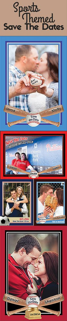 Custom Basebeball, Basketball, and Soccer Themed Save The Dates from Custom Sports Cards http://www.customsportscards.com/select.cfm/Wedding/Save-The-Date-5x7/