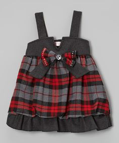 Take a look at this Red Plaid Bubble Dress - Infant on zulily today!