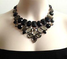 black and grey rhinestone bib necklace  bridesmaids by BienBijou