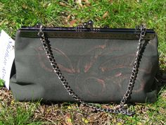 Clutch Purse Olive with Copper Flower by ShahanRose on Etsy
