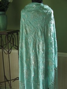 Fab Antique Piano Shawl Embroidered Silk Ice Blue w/ Fringe '20's Rare color | eBay