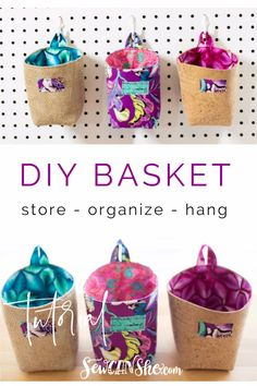 Sew a Cute Organizing Basket - free sewing tutorial Small Sewing Projects, Sewing Hacks, Sewing Tutorials, Sewing Blogs, Tutorial Sewing, Purse Tutorial, Bag Tutorials, Sewing Tips, Cork Fabric