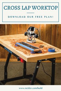 Torsion-box-style construction gives this tabletop strength and rigidity without excessive weight. Building it is easy with Rockler's innovative Cross Lap Jig. Just add a stand and you've got a custom work table. Download our free plan here!  #createwithconfidence #worktoptable #customtable #crosslapworktopdiy #freerocklerplan Woodworking Items That Sell, Woodworking Hand Planes, Woodworking Shows, Rockler Woodworking, Cool Woodworking Projects, Woodworking Supplies, Diy Wood Projects, Woodworking Fasteners, Japanese Woodworking