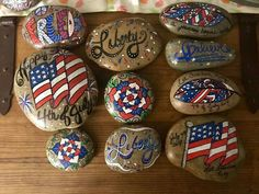 4th of July painted rocks.