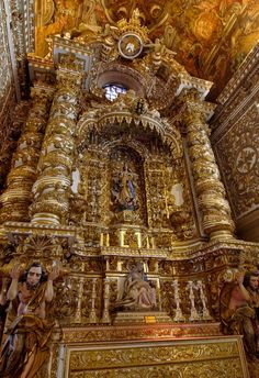 Baroque architecture inside Church of São Francisco - Salvador, Brazil The beautiful ornamentation of the shrine really show how much that icon means to these people