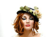 1940s Womens Spring Hat / Navy Fine Straw by SueEllensFlair