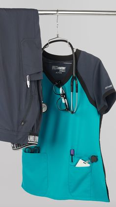 Add a splash of color to your scrubs with Grey's Anatomy color Peacock Blue - here for this season only! Scrubs Outfit, Scrubs Uniform, Nursing Scrubs, Medical Scrubs, Formal Suits For Women, Greys Anatomy Scrubs, Scrub Life, Medical Uniforms, Moda Casual